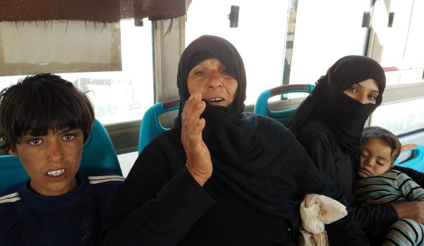 An elderly women evacuated from Rukban complained of hunger due to extremely high food prices. Photo | Eva Bartlett