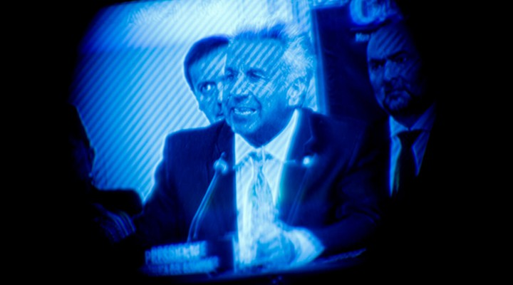 Ecuador's President Lenin Moreno is seen through a television camera viewfinder as he addresses the Permanent Council of the Organization of American States, April 17, 2019, in Washington.