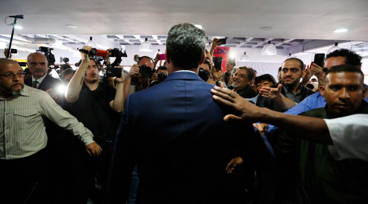 Self-proclaimed president Juan Guaido arrives to give a press conference in Caracas, Venezuela, May 9, 2019.